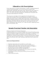 resume samples for teachers preschool cipanewsletter top preschool teacher job description recentresumes com