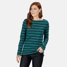 <b>Women's</b> Flordelis Striped <b>Long Sleeve T</b>-<b>Shirt Deep</b> Teal <b>Deep</b> ...