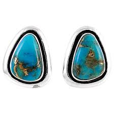 Turquoise Earrings 925 Sterling Silver & <b>Genuine Copper</b>-Infused ...