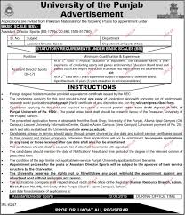 assistant director sports job in university of the punjab 2017 assistant director sports job in university of the punjab