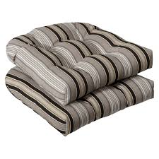 pillow perfect outdoor black beige striped seat cushions set of 2 black patio chair cushions