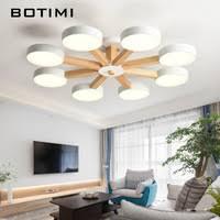 <b>BOTIMI</b> Wooden <b>LED Pendant Lights</b> For Dining Room 2 Round...
