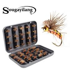 <b>40pcs Fly Fishing</b> Hook Bait with Box Salmon Flies Trout Dry Fly ...