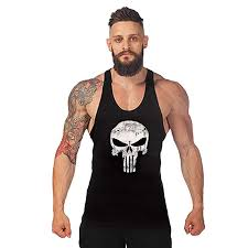 Robo Mens <b>Skull</b> Print <b>Stringer Bodybuilding Gym</b> Tank Tops ...