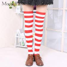 EFINNY Girls High <b>Striped</b> Over Knee Stockings <b>Cute</b> Cat <b>Stripe</b> ...