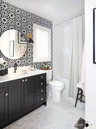 sliding bathroom mirror:  accessories modern round bathroom mirror with diy floral wall art decor and black vanity also using