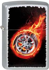 "<b>Зажигалка Zippo</b> ""<b>Tire</b> On <b>Fire</b>"", цвет: серебристый, 3,6 х 1,2 х 5,6 ..."