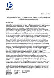 Handling of Post approval Changes to Marketing Authorizations  Position Paper IFPMA