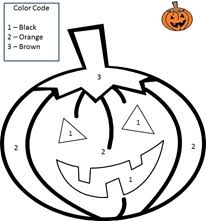 Math WorkSheets Halloween ThemeColor by Number - Single Digit - Math Worksheet Sample#6