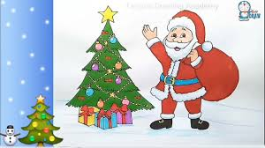 How to draw <b>Santa Claus</b> with <b>Christmas tree</b> step by step - YouTube