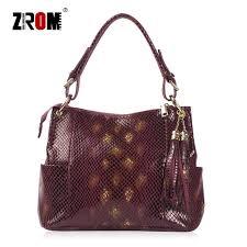 ZROM Brand <b>Genuine Leather Bag</b> Women <b>Fashion</b> Serpentine ...
