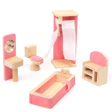 brand baby wooden doll house furniture miniature bathroom for kids children play furniture toy gift brand baby wooden doll house