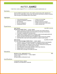 7 elementary teacher resume examples normal bmi chart resume example for teacher highlights in lesson planning and experience as math teacher in middle school or education in bachelor of arts mathematics