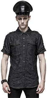 Punk Rave <b>Men's</b> Punk Short Sleeve Shirt Streetwear <b>Simple</b> ...