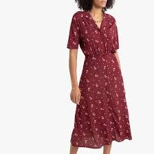 <b>Платье</b>-рубашка <b>длинное</b> с рисунком рисунок/фон бордовый <b>La</b> ...