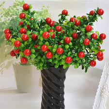 green artificial plants with red fruit fake floral plastic eucalyptus plant flowers office hotel table decor artificial grass artificial plants for office decor