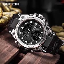 SANDA Brand <b>Men</b> Sports Watches <b>Dual Display</b> Analog Digital ...