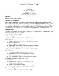 veterinary receptionist resume cover letter cipanewsletter cover letter objective for receptionist resume objective for