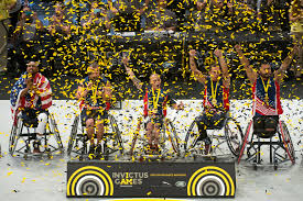 invictus games u s wheelchair basketball team members celebrate their gold medal win