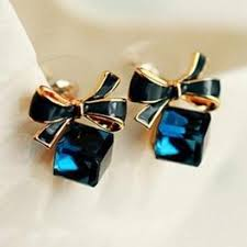 Austria Exquisite Crystal Blue <b>Water Cube</b> Box Cube Stone Bow ...