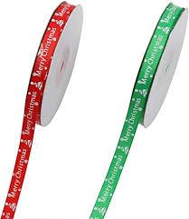 <b>1cm Wide</b> Printed Cotton Ribbon Trim <b>Merry</b> Christmas 100 Metres ...