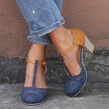 <b>Dihope Women</b> Heel High <b>Shoes</b> Pumps Square <b>Ladies</b> Platform ...