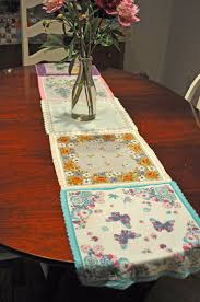 rectangular dining table cover cloth knitted vintage:  ffbeaf table runner vintage hankie de