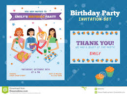 set of vector invitation flyer and thank you card for teenage set of vector invitation flyer and thank you card for teenage girls birthday party four