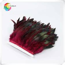 <b>wholesale</b> 2 Yard long Dyed burgundy <b>natural</b> Rooster Feather ...