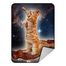 GCKG <b>Funny Bacon Cat in</b> Space Pattern Fleece Blanket Throw ...