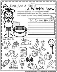 October First Grade Worksheets - Planning Playtime... First Grade Math Worksheet for Halloween - Roll, Add and Stew a Witch's Brew: