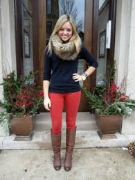 Image result for red jeans for women outfit ideas