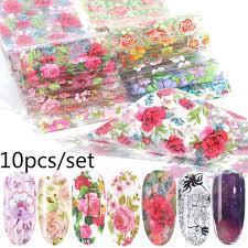 <b>10pcs</b> / Установить DIY Цветы <b>Наклейки Ногти</b> Фольга Передача ...