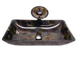 waterfall tempered glass bathroom alpha plus rectangle bath tempered glass vessel sink oil rubbed bronze