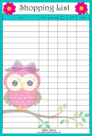 adorable owl shopping list printable grocery coupons wyd shopping