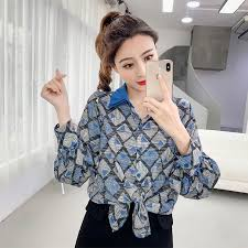 Printed <b>Chiffon Blouse 2019 Spring</b> New Style Lapel Shirt | Shopee ...