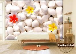 Custom 3d floral wallpaper mural frangipani flower white <b>stone rock</b> ...