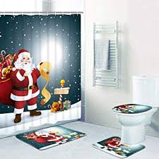 4 Pcs Merry Christmas Shower Curtain Sets with Non ... - Amazon.com