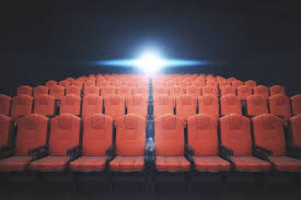 Front View Of Red Cinema <b>Chairs</b> On <b>Dark Background</b> With ...