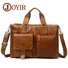 <b>JOYIR Genuine Leather Men's</b> Briefcase Male Leather Business ...