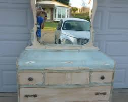 vintage bassett art deco waterfall dresser with etched mirror distressed antiqued blue and ivory chalkpainted shabby chic antique dresser framed leaning mirror shabby chic