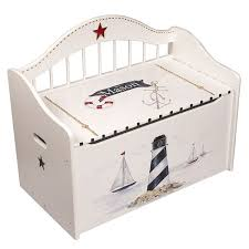 White Nautical Wooden <b>Handpainted Storage</b> Toy Chest | Toy chest ...