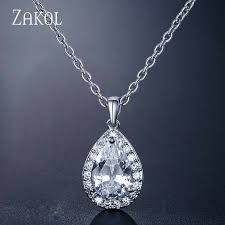<b>ZAKOL</b> Trendy <b>Water Drop</b> CZ Zircon Chain Pendant Necklaces ...