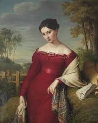 shawls and wraps in th century art literature and fashion portrait of a young lady in a red dress a paisley shawl by eduard friedrich