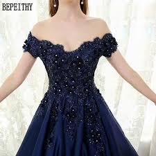 BEPEITHY <b>Custom Made</b> Vestido De Festa V neck <b>Navy Blue</b> Lace ...