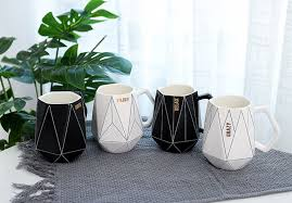 <b>Creative Polygonal Ceramic Mug</b> Office Coffee Milk Cup Couple ...