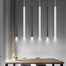 simple long oval led pendant light for dining room office study table kitchen island bar counter reception black white droplight