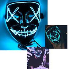 <b>2pcs</b> Scary <b>Purge</b> LED flash light Face Mask Neon Rave <b>Halloween</b> ...