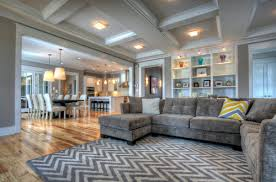 gray couches on the side and a bigger floor area contemporary living room big living room couches
