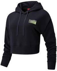 New Balance <b>Sport Style Optiks</b> Cropped Hoodie in White - Lyst